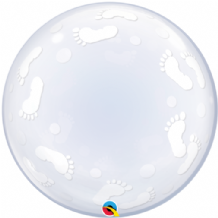 "Baby Footprints Deco Bubble Balloon (24"") 1pc"